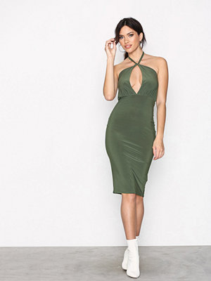 Missguided Slinky Tie Midi Dress Khaki