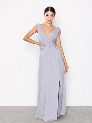 Little Mistress Chiffon Trim Maxi Dress Grey