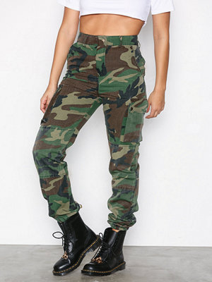 Missguided mönstrade byxor Printed Cargo Trousers Khaki