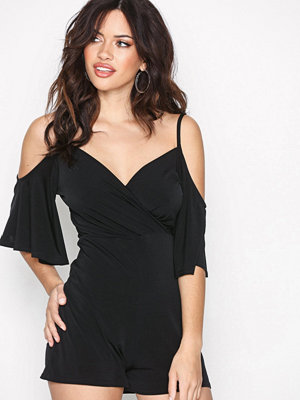 New Look Wrap Front Batwing Playsuit Black