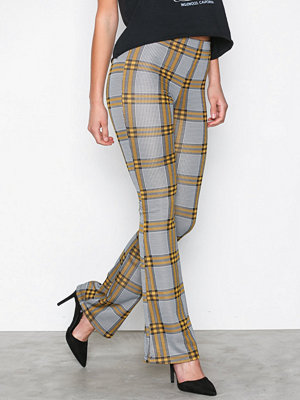 Topshop rutiga byxor Check Flared Trousers Yellow