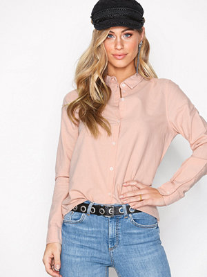 Pieces Pcirena Ls Oxford Shirt Noos Ljus Rosa