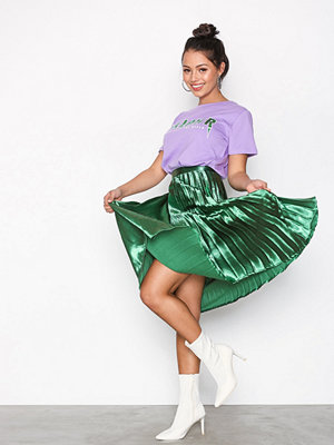 Missguided Shine Satin Pleated Midi Skirt Green