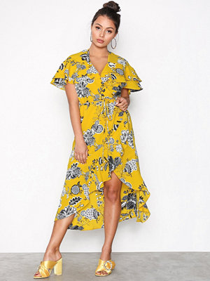 River Island Frill Waisted Dress Yellow
