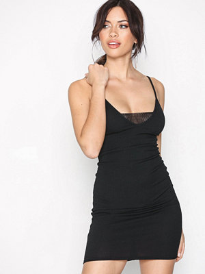 New Look Ribbed Mesh Insert Front Bodycon Dress Black