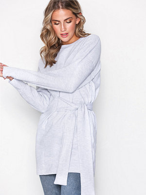 Topshop Oversized Belted Sweat Top Grey Marl