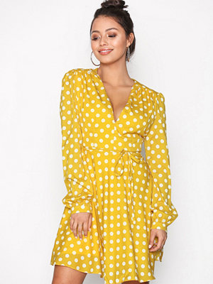 Glamorous Long Sleeve Flounce Dress Yellow