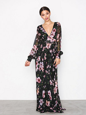 NLY Eve Deep Plunge LS Gown Mönstrad