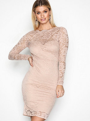 NLY One Ruched Back Lace Dress Blush