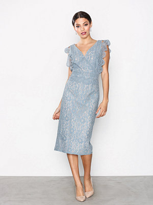Little Mistress Lace Plated Dress Dusty Blue