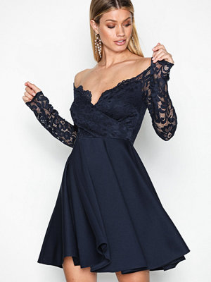 NLY One Off Shoulder Lace Skater Navy