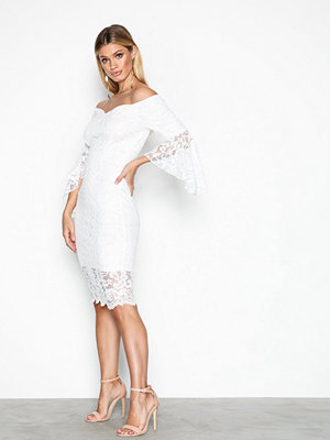 NLY One Off Shoulder Lace Dress Vit