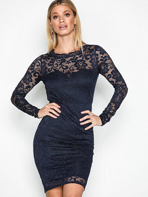 NLY One Ruched Back Lace Dress Navy