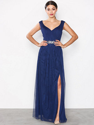 Little Mistress Multi Trim Mesh Dress Navy