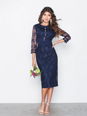 Little Mistress Embroidered Midi Dress Navy