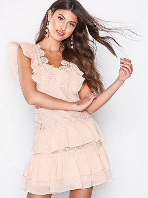 True Decadence Lace Frill Dress Peach