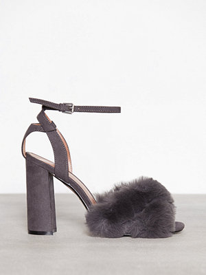 Topshop Faux Fur Heeled Sandals Grey