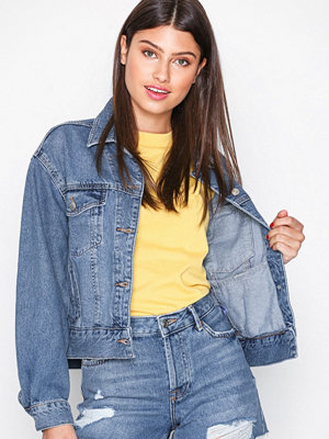 Topshop MOTO Cropped Denim Jacket Denim