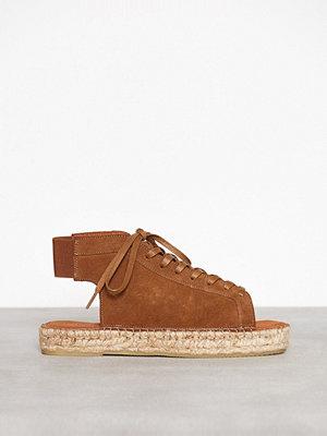 Sandaler & sandaletter - Pieces Psmelinda Suede Esperdrille Ljus Brun