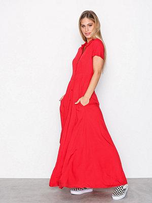 Vila Vidona Maxi Shirt Dress 40 Röd