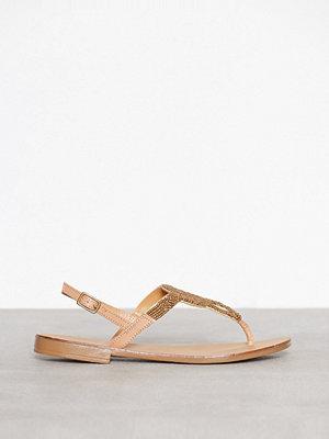Sandaler & sandaletter - Pieces Pscarmen Leather Sandal Beige