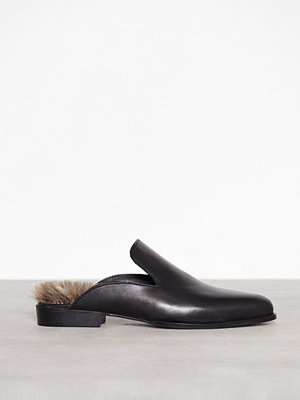 Tygskor & lågskor - Topshop Kuddle Furry Leather Loafers Black