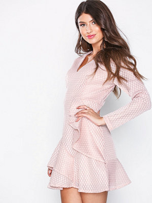 Missguided Plunge Ruffle Skater Dress Pink