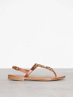 Sandaler & sandaletter - Pieces Pscarmen Leather Sandal Ljus Brun