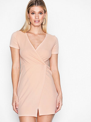 Missguided Short Sleeve Wrap Front Bodycon Light Beige