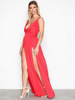 NLY One Double Slit Maxi Dress Röd
