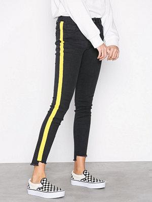 Missguided Mid Rise Skinny Stripe Jeans Black Stripe