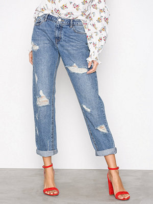Missguided Ripped Boyfriend Jeans Blue