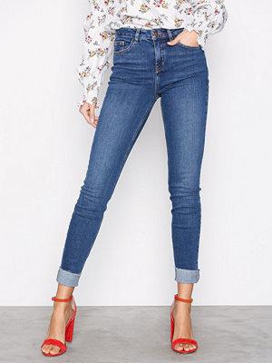 New Look Turn Up Hem Skinny Jenna Jeans Blue