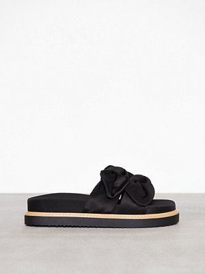 River Island Double Bow Slider Sandal Black