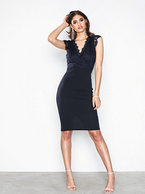 Ax Paris V Neck Lace Dress Navy