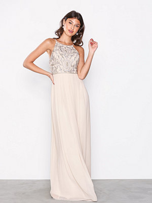 NLY Eve Tight Neckline Beads Gown Champagne