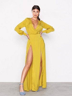 Missguided Plunge Wrap Front Split Maxi Dress Chartreuse