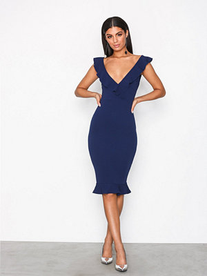 Ax Paris Deep V-Neck Flounce Dress Navy