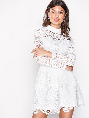 Missguided Lace High Neck Frill Layered Mini Dress White