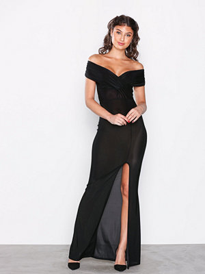 Missguided Slinky Bardot Wrap Front Split Maxi Dress Black