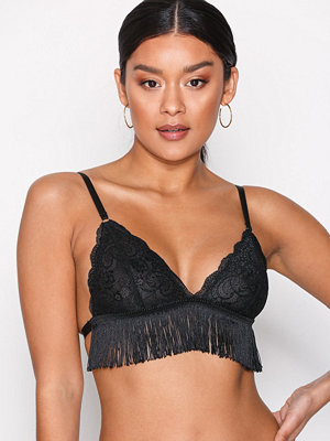 Topshop Fringe Triangle Bra Black