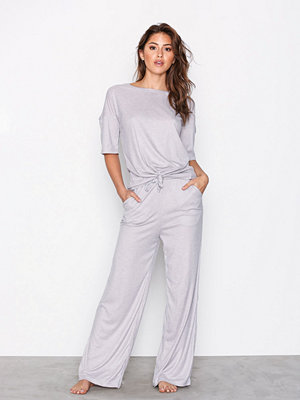 Missguided Ribbed Wide Leg Tie Up Lounge Set Grey