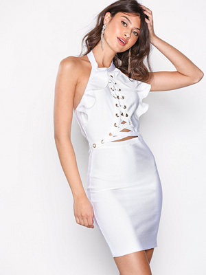 Wow Couture Ruffle Top Halter Neck Bandage Dress White