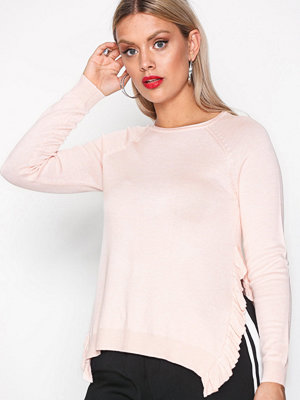 Only onlEA L/S Ruffle Pullover Knt Ljus Rosa