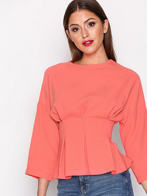 Topshop Tuck Waist Top Coral