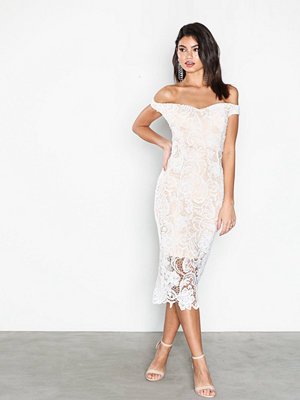 Missguided Lace Bardot Midi Dress White