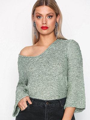 Jacqueline de Yong Jdycana 7/8 V- Neck Pullover Hnn Ljus Grön