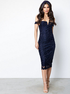Ax Paris Bardot Lace Dress Navy