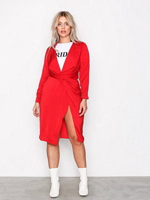 Missguided Silky Wrap Over Midi Dress Red