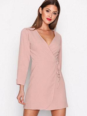 Topshop Crepe Mini Wrap Dress Light Pink